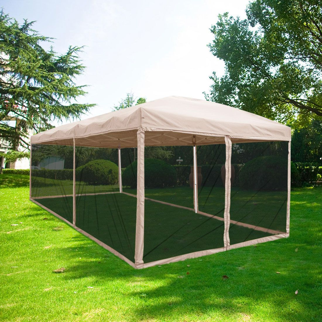 Free 2 Day Shipping Buy Quictent 10x20 Ez Tan Pop Up Canopy With Netting Gazebo Mesh Side Wall Roller Bag Included Tan Gazebo Screen House Pop Up Canopy Tent