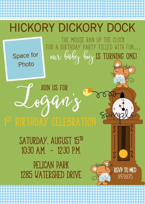 Nursery Rhyme Story Book First Birthday Party Invitation Featuring Hickory Dickory Dock Can Be Made For Any Age