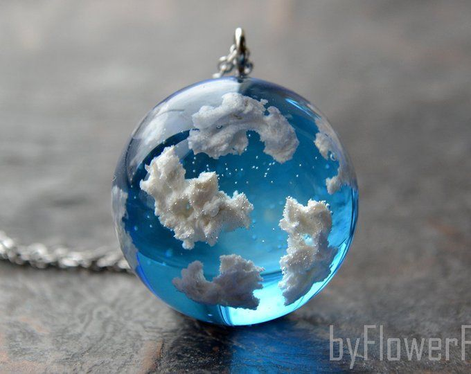 Blue sky necklace Sky cloud necklace Terrarium jewelry Sky – Green Home