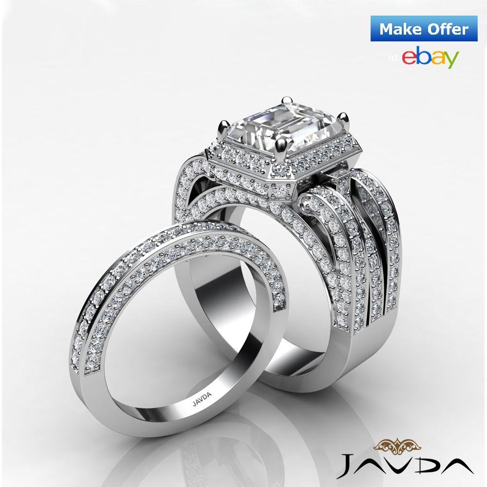 Diamond Engagement Ring Radiant Bridal Setting 18k White Gold Wedding Band 32Ct