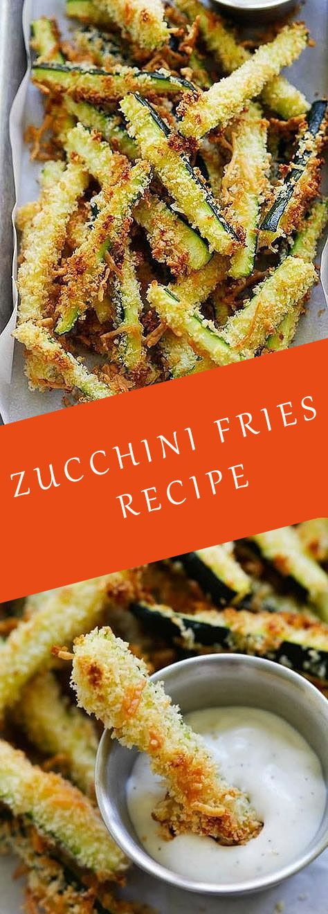 Photo of Crispy baked zucchini fries made with Japanese panko bread crumbs and Parmesan cheese
