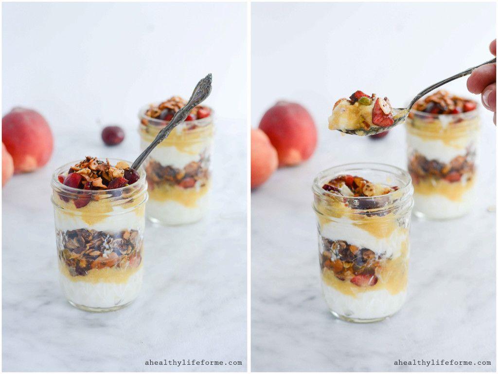 Greek Yogurt Peach Cherry Parfait - A Healthy Life For Me