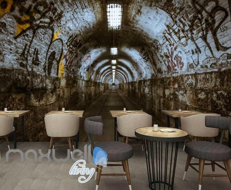 3d Wallpaper Of A Dark Tunnel With Graffiti On Walls Art Wall