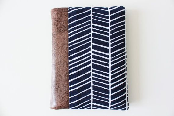 Passport Cover, Passport Case, Passport Holder, Travel Wallet, Travel Organizer - Navy - Faux Leather - Chevron