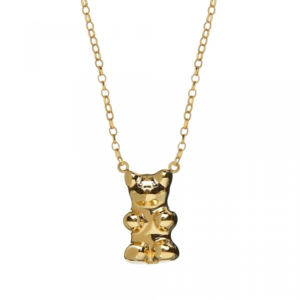 Gummy bear necklace 18ct yellow gold vermeil and silver gummy bear gummy bear necklace 18ct yellow gold vermeil and silver gummy bear pendant on chain womens jewellery made in england perfect gift aloadofball Images
