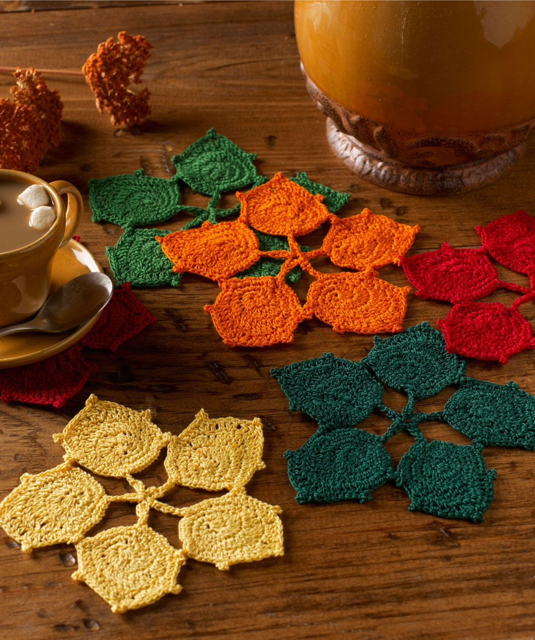 Dancing Leaves Coasters, free pattern by Red Heart   ☂Crochet ...