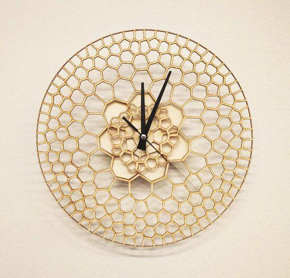 10 OFF Laser cut Wall Clock, Wood Clock, Modern Design Laser Cut - küchen wanduhren design
