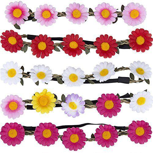 ZWOOS Fleur Couronne Bandeau: Material: La flor y las hojas se hacen ...