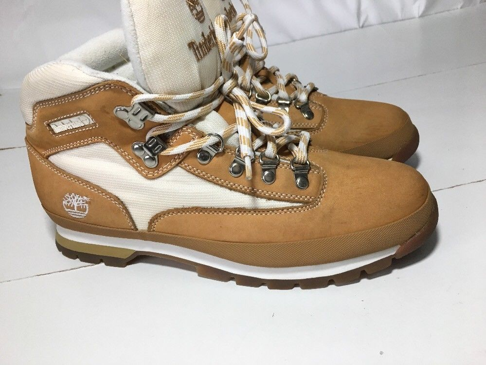 30aeb904081 TIMBERLAND NUBUCK Wheat / White Leather Euro Hiker Boots #95169 ...