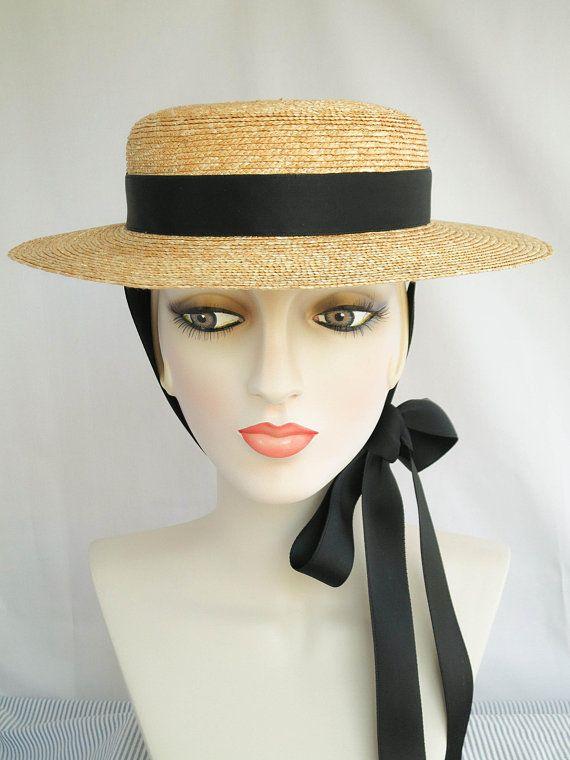 1b0bcb5a Gigi Straw Boater with Black Ribbon Ties, Straw Hat, Millinery, Edwardian