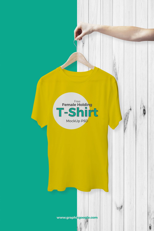 Free Female Holding TShirt Mockup PSD