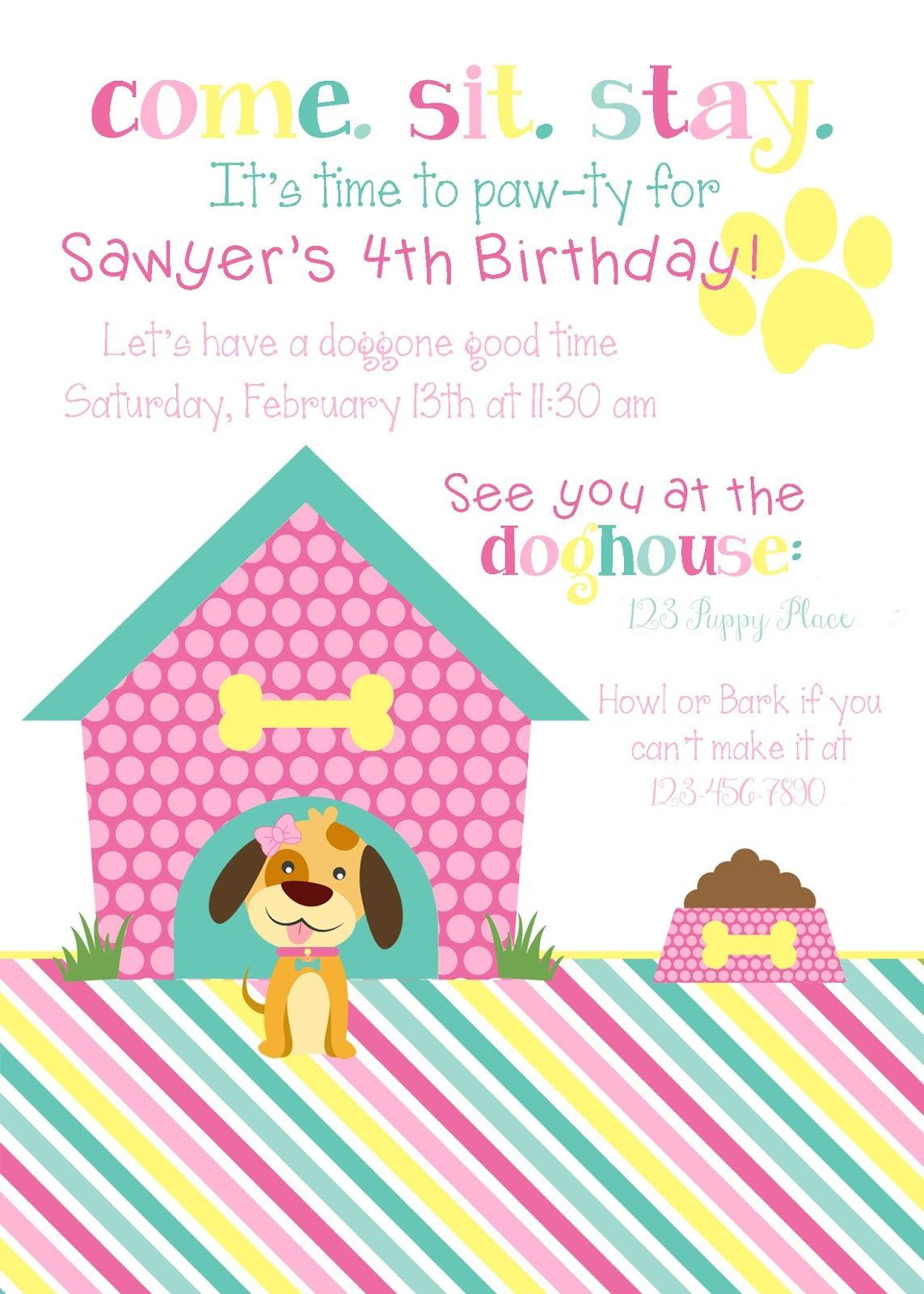 Girls Pink Puppy Party Invite | MY parties | Pinterest | Puppy party ...