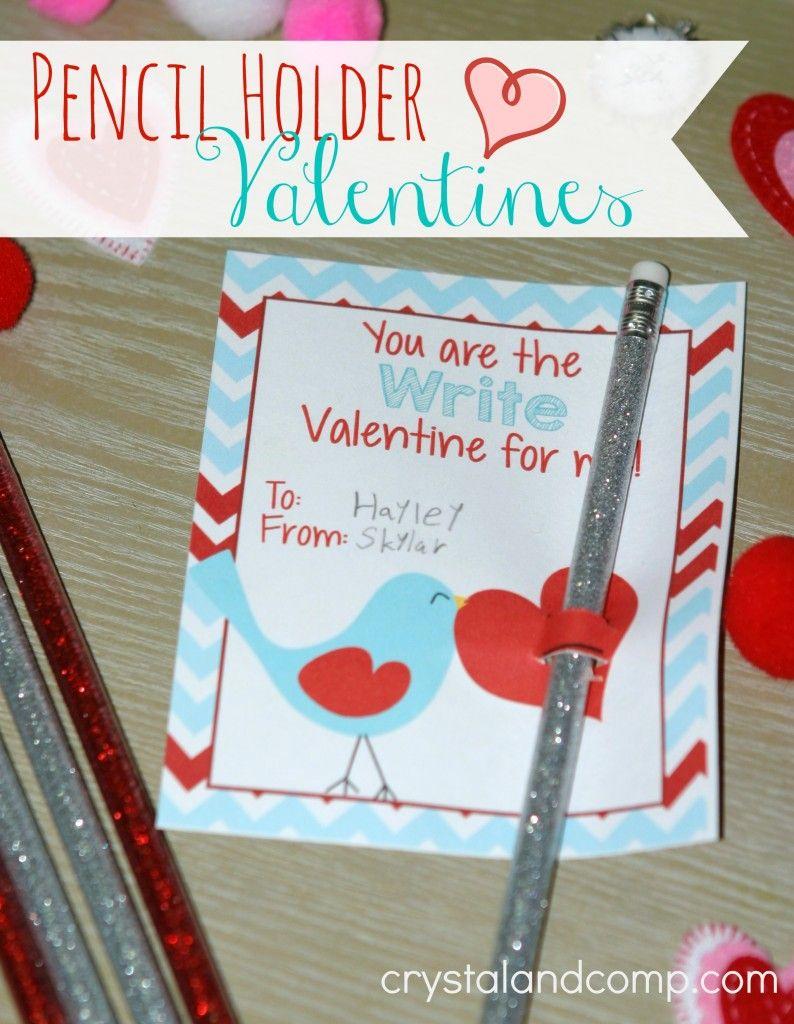 kid valentine crafts (pencil holder printables) | Valentine\'s Day ...