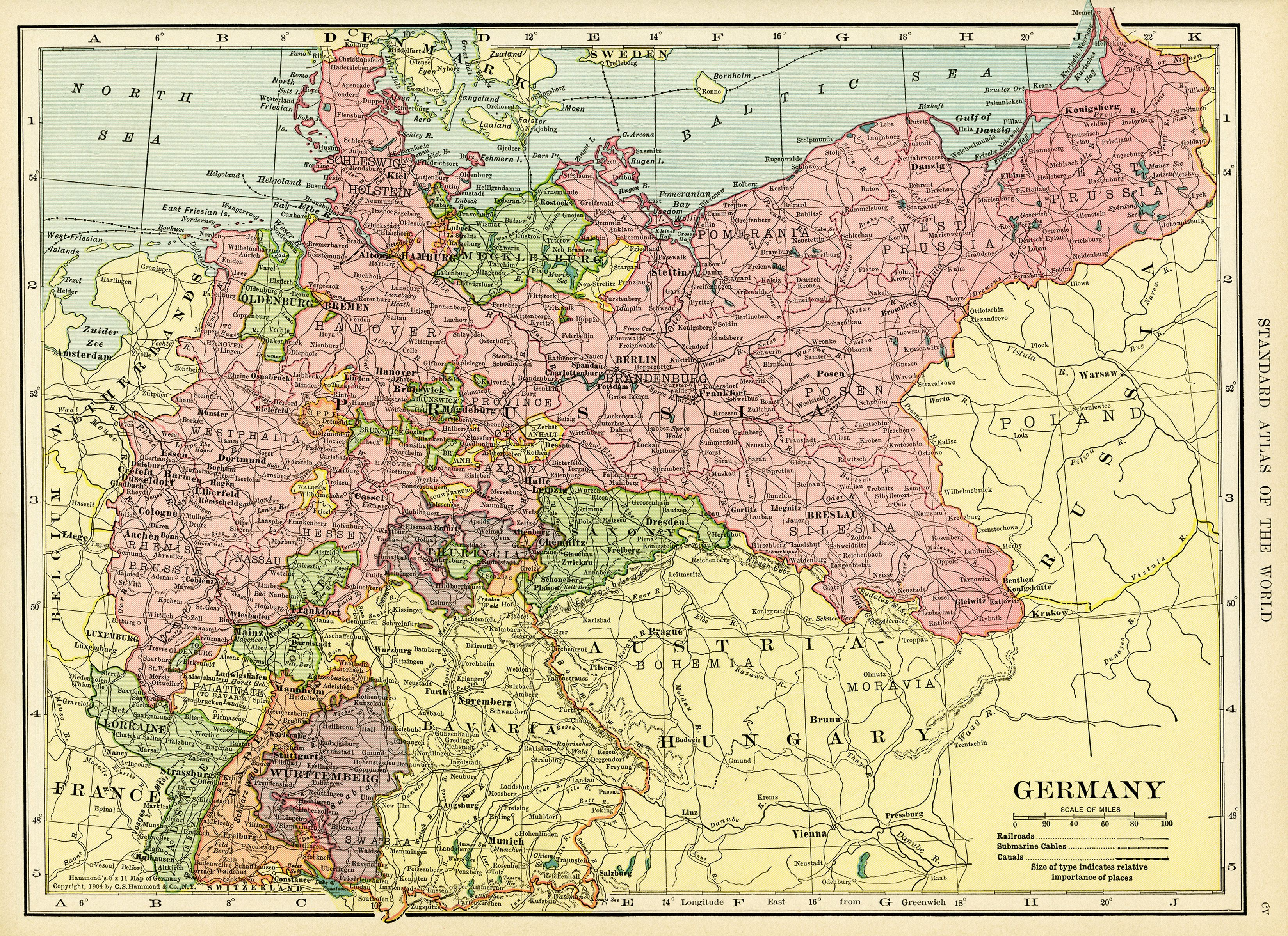 Map Of Germany 1900.Antique Map C S Hammond Map History Geography Germany Old Map