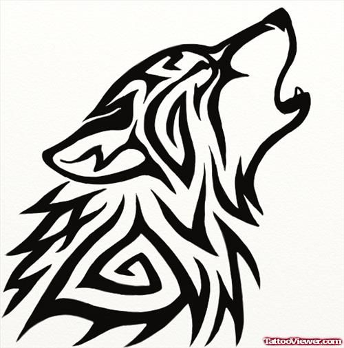 Image Result For Tribal Wolf Howling At Moon Tribal Wolf Tattoo Tribal Wolf Wolf Tattoo Design
