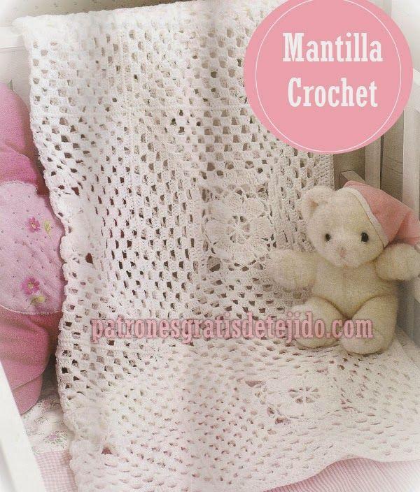Mantilla para bebe al crochet con patrones | Mantas a crochet ...
