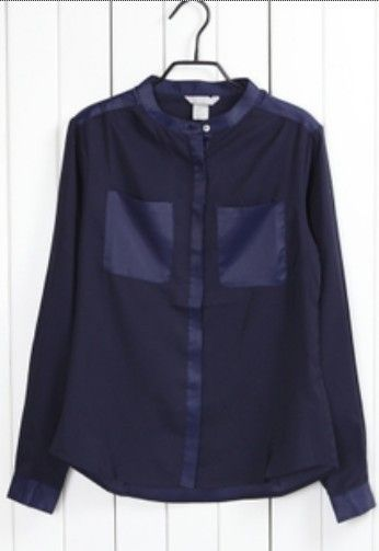 Navy Banded Collar Long Sleeve Pockets Chiffon Belted Blouse