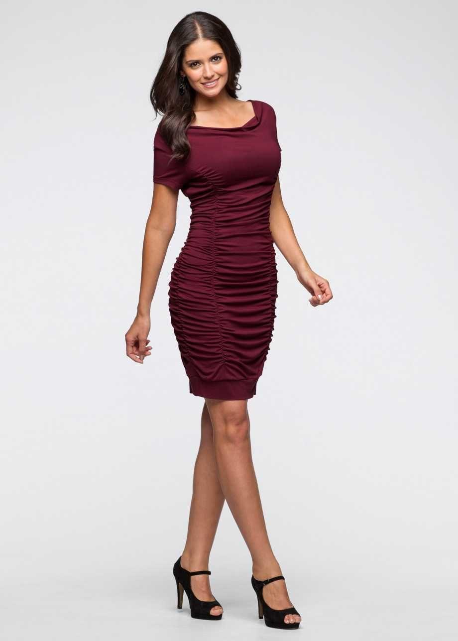 Gerafftes Kleid mit Wasserfallausschnitt - bordeaux  Kleider