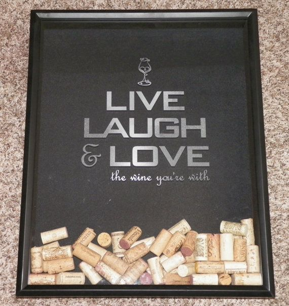 17x21 etched wine cork holder brown frame shadow box live laugh love keep calm uncork unwind or custom wedding
