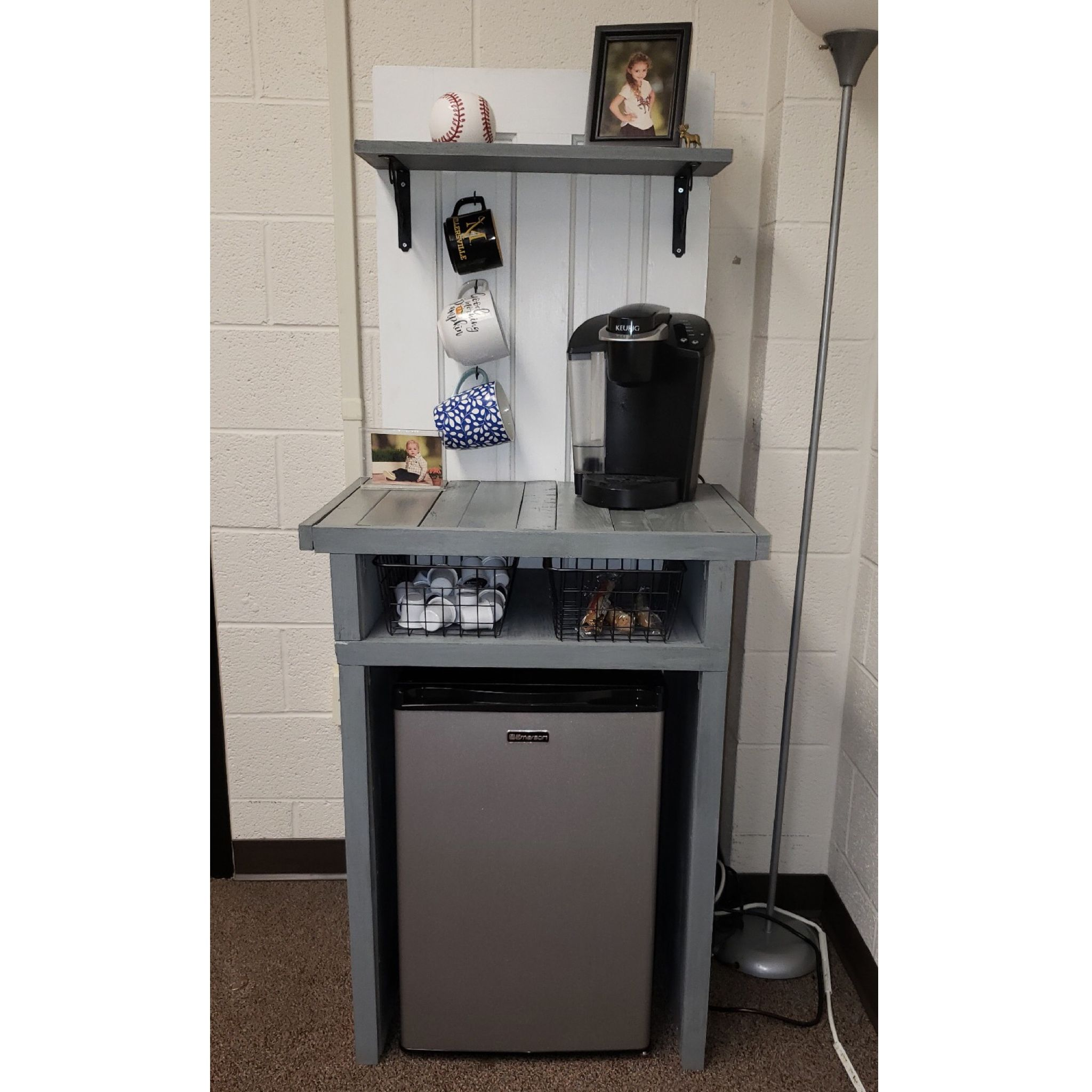 Handmade coffee bar mini fridge cabinet. It was custom built to fit the mini fridge and displays ...