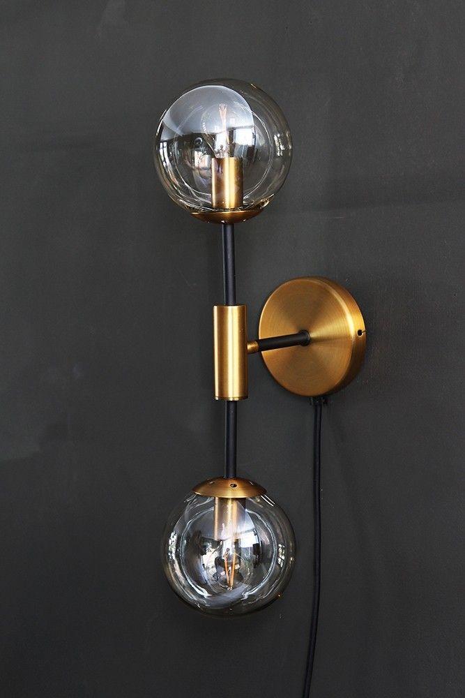 Brass glass twin globe wall light from rockett st george