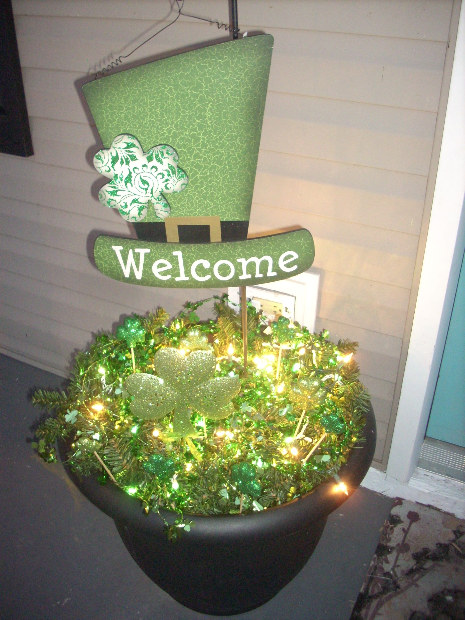 St. Patricks Day Porch decoration I made. Shown at night with