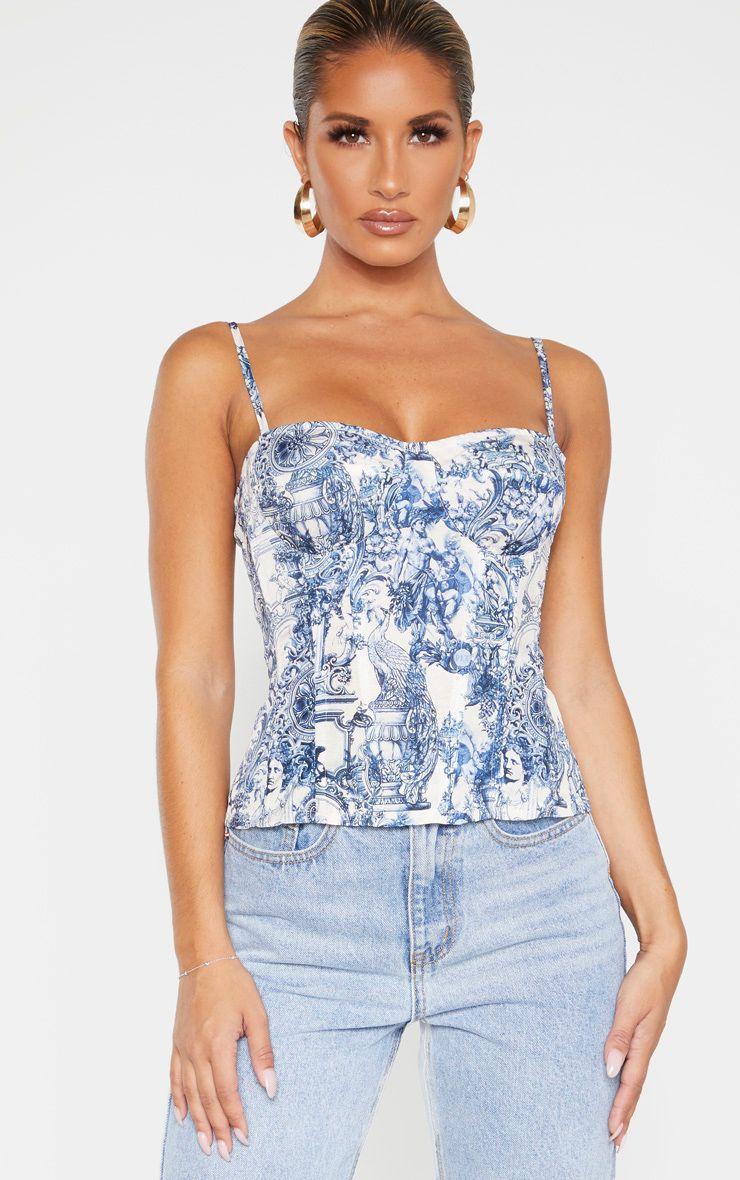 Blue renaissance print structured corset top in 2020