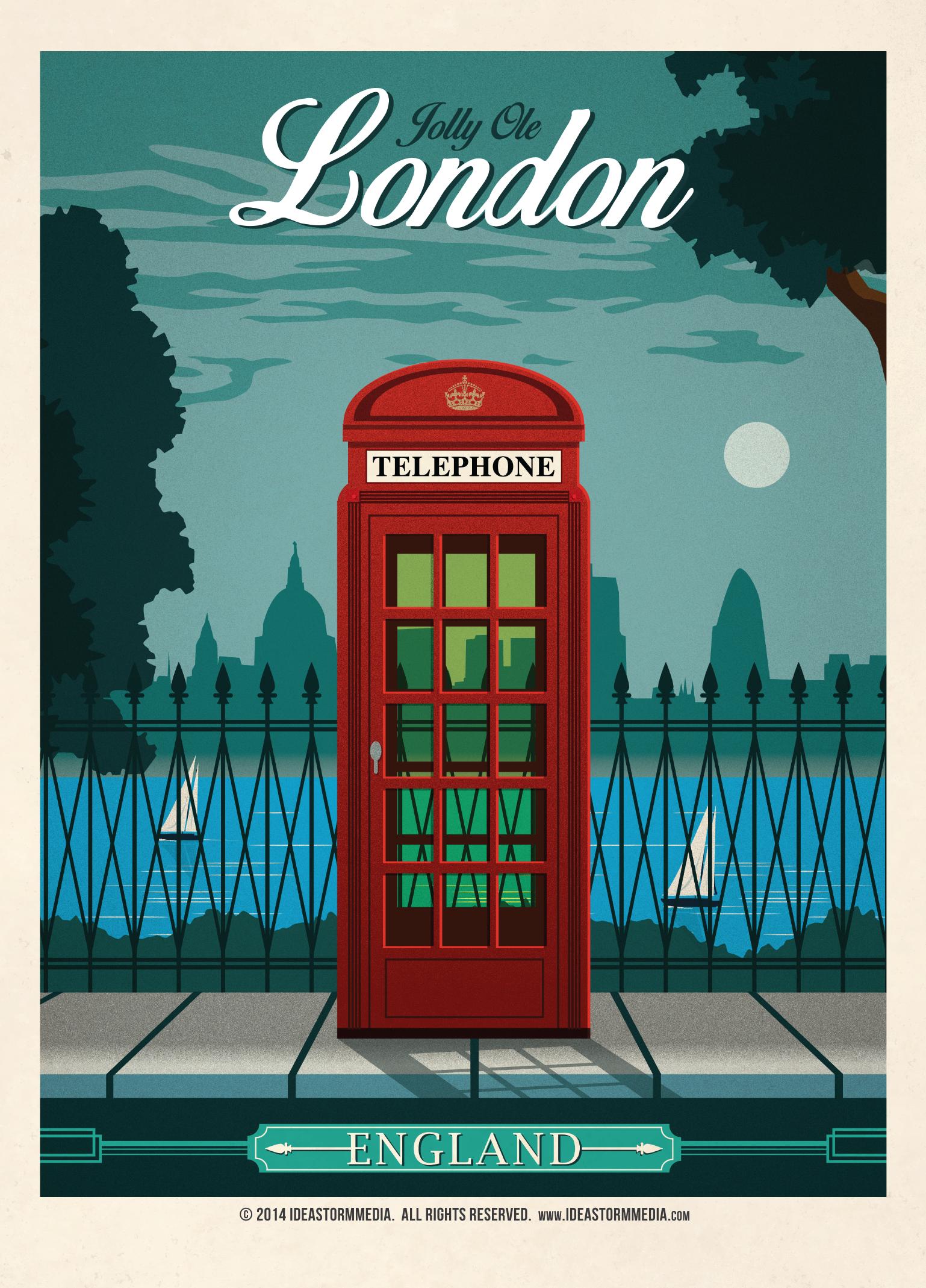 Vintage London Poster by IdeaStorm Media London travel