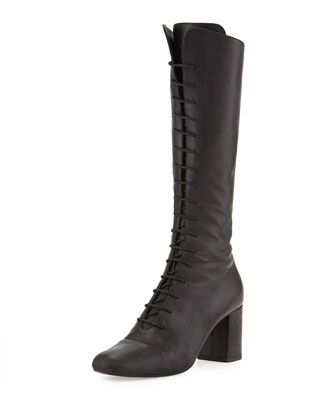 Napa Leather Lace-Up Boot, Nero by Saint Laurent