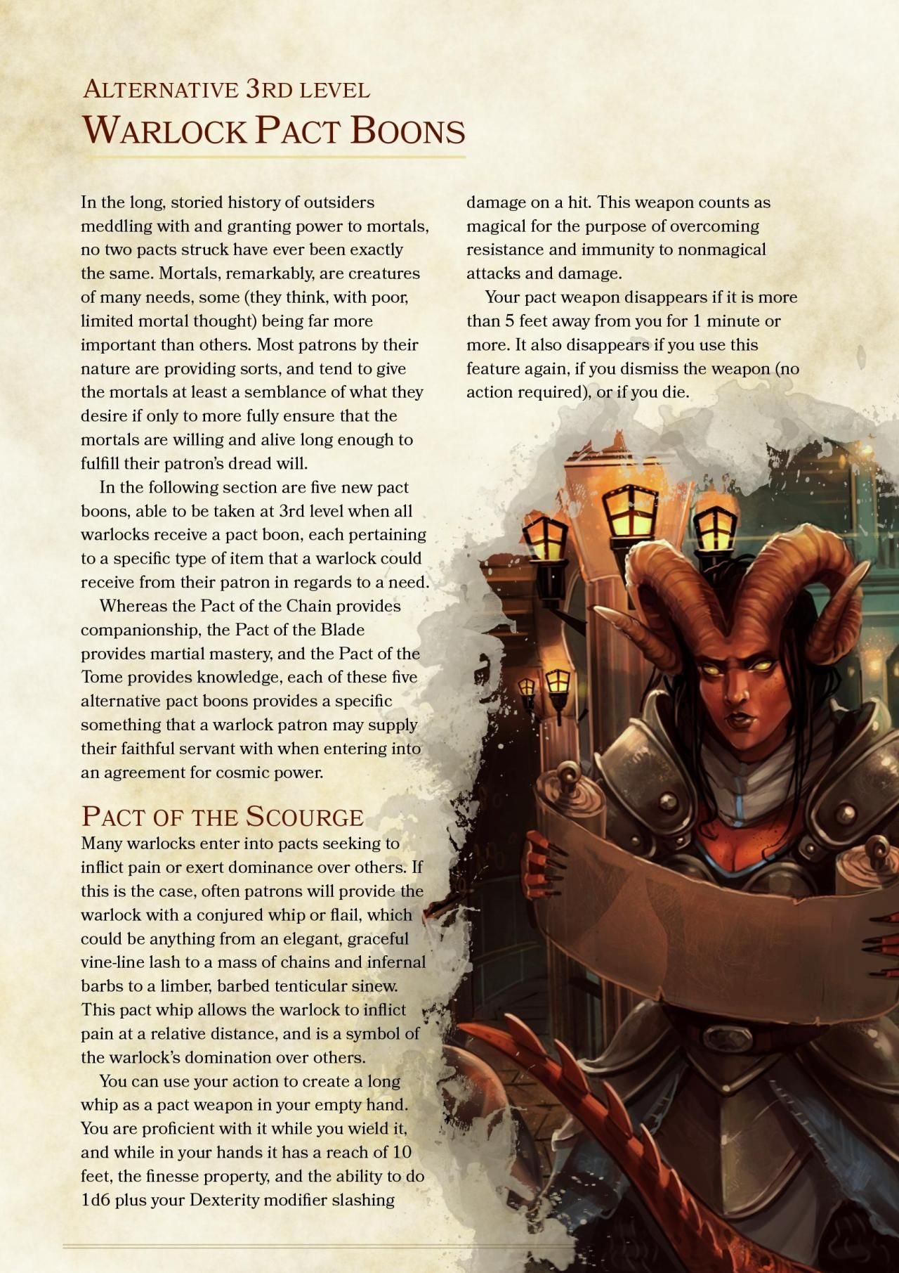 DnD 5e Homebrew — Warlock Pact Boons and Invocations by