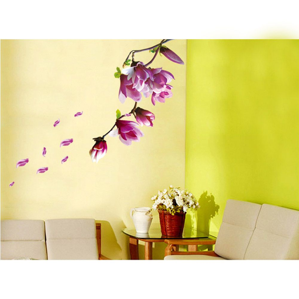 Beautiful Mangnolia Flowers Removable Wall Art Decals Vinyl Stickers ...