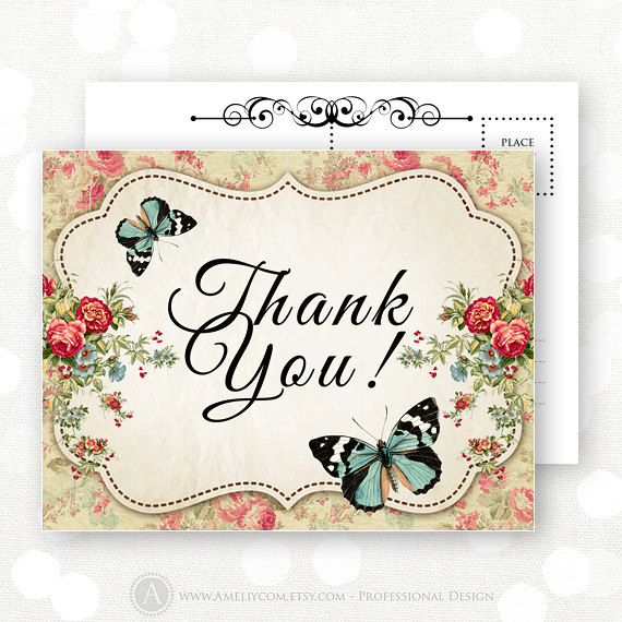Printable Thank You Cards Instant Download Vintage Flowers Retro