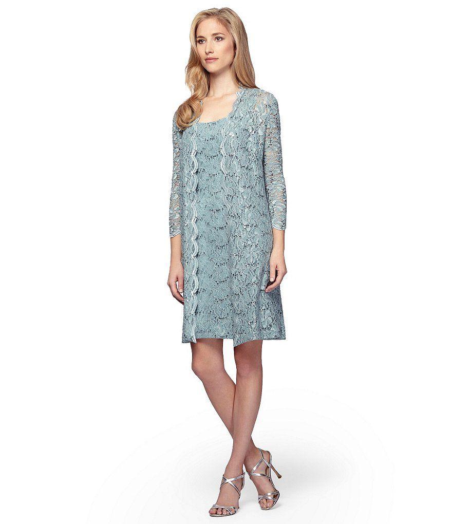 Sea Green:Alex Evenings Sequin Lace Shift Jacket Dress | L\'s Wedding ...