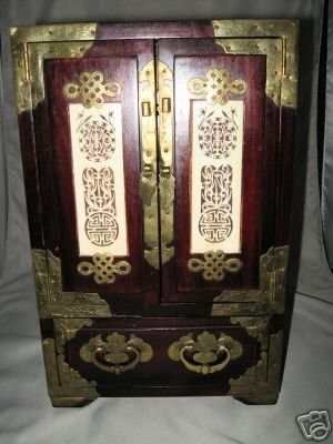 1920S CHINESE CARVED IVORY WOOD JEWELRY BOX CHEST NR 38332599