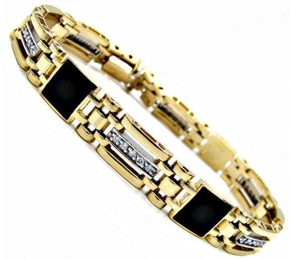 mens gold bracelets with diamonds