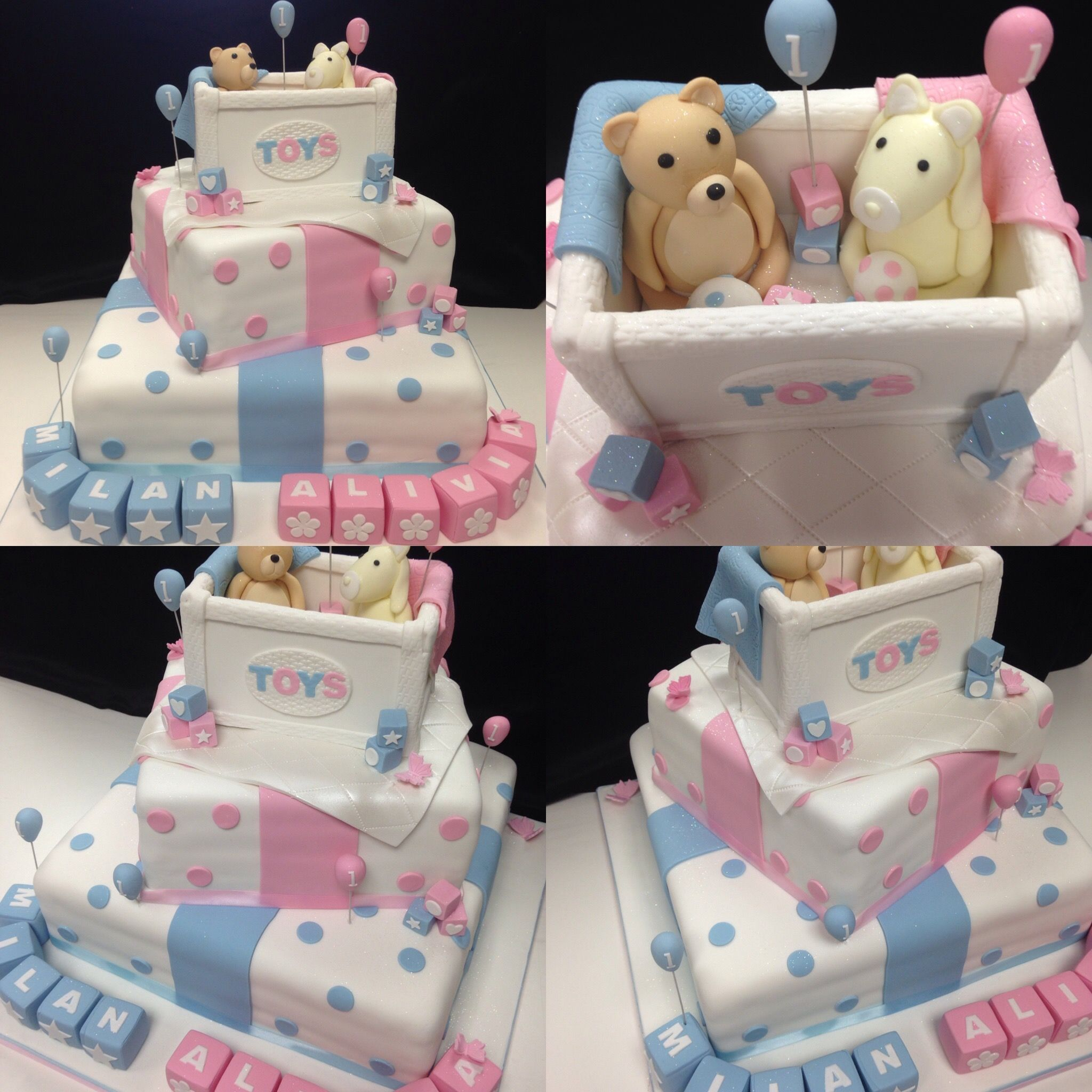 3 Tiered Birthday Cake Made For Twins Celebrating Their 1st Birthday