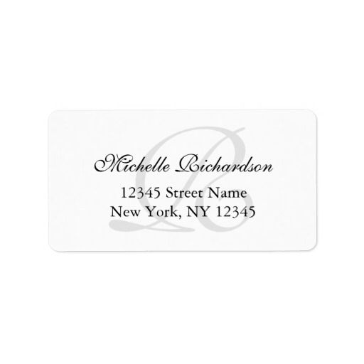 personalized elegant name monogram address labels wedding address