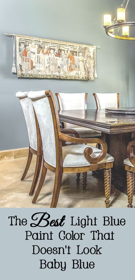 Light Blue Is A Very Popular Paint Color Right Now It Is Especially Popular Paired With Brown Man Light Blue Paint Colors Light Blue Paints Dining Room Paint