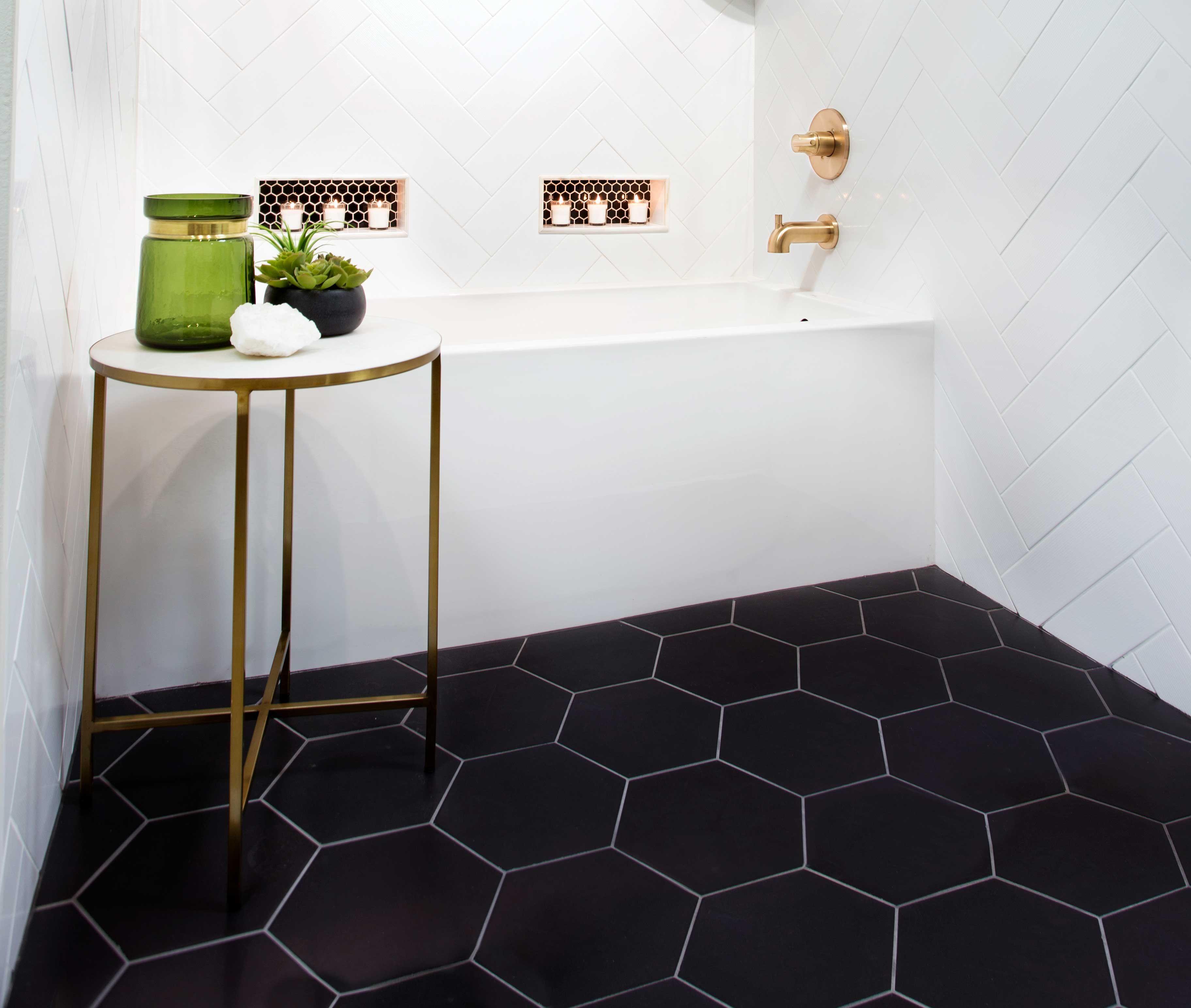 Black Hex Tile Floor In 2020 Black Bathroom Floor Black Tile Bathrooms Tile Floor Diy