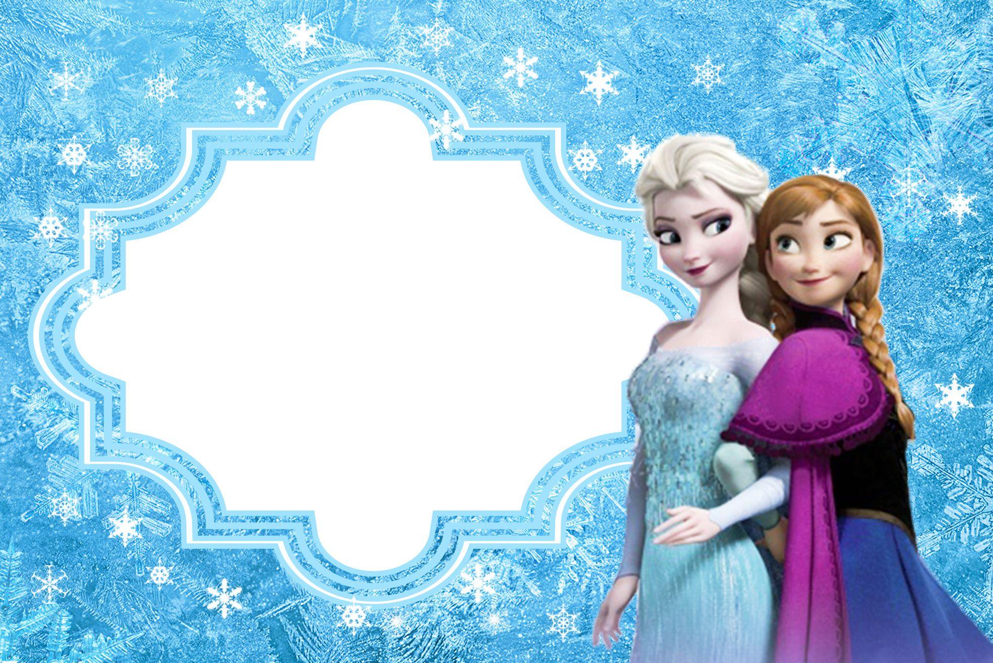 Moldura Convite E Cartao Frozen Disney