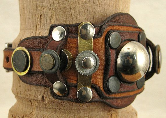 073 Steampunk Boho Bracelet Recycled Jewelry Art Deco Machine Age via Etsy