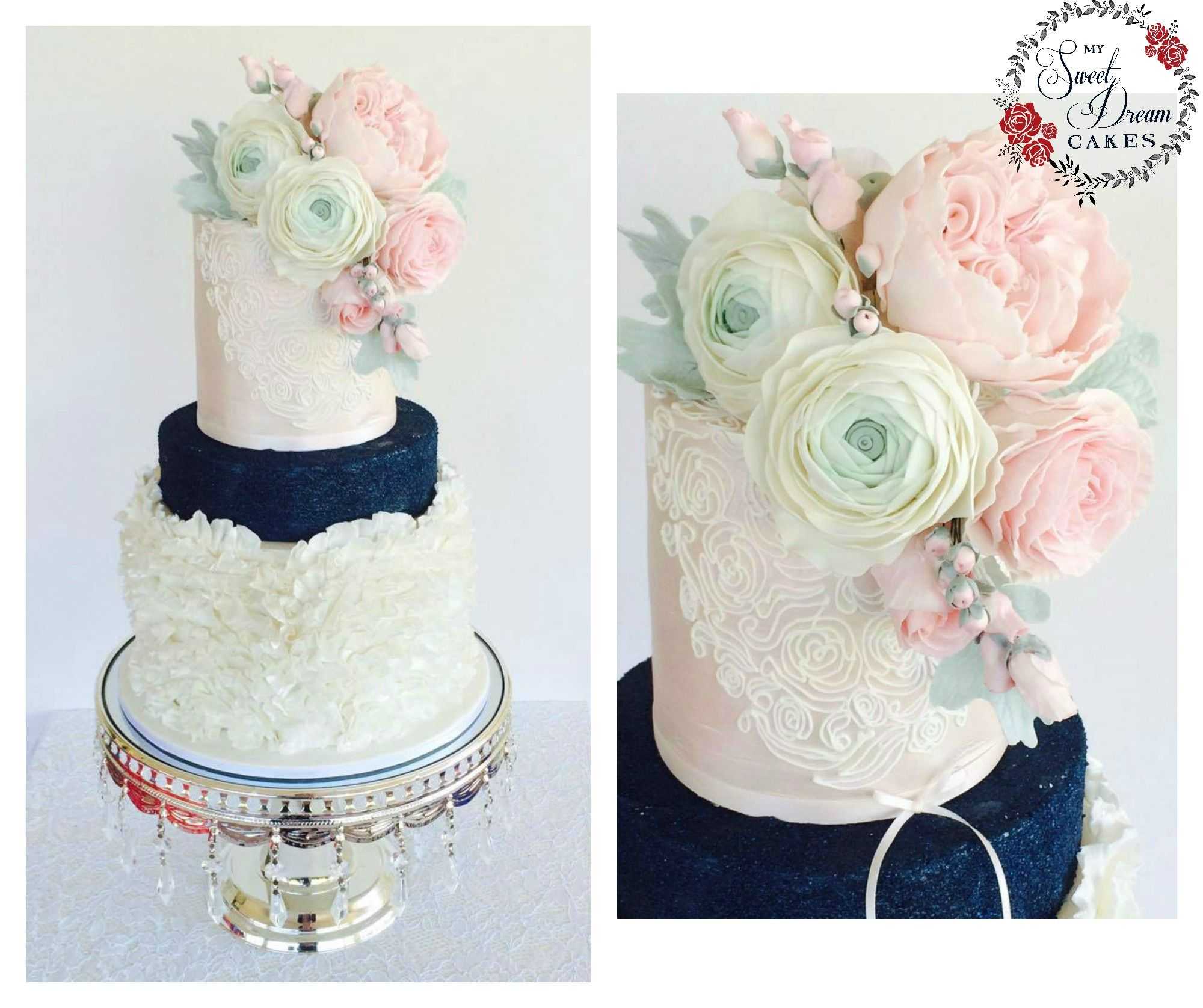Navy blue and pink champagne vintage wedding cake by My Sweet