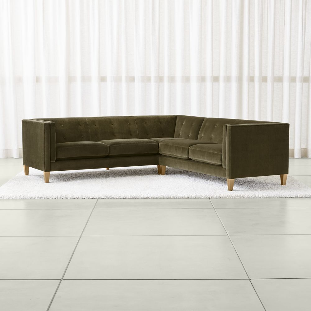 Aidan Velvet 2-Piece Left Arm Corner Tufted Sectional Sofa