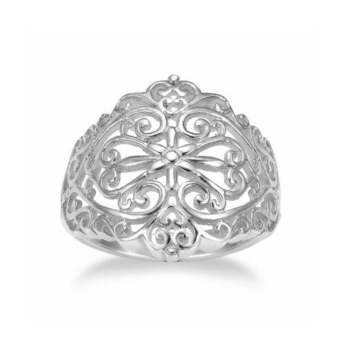 Chuvora 925 Sterling Silver 18 mm Floral Filigree Victorain Style Polish Finished Ring - Size 6
