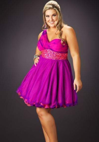 Chiffon One-Shoulder A-Line Plus Size Party Dress - Plus ...