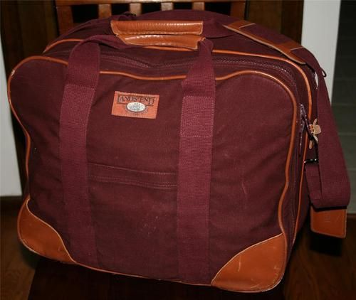 Vintage Lands  End Square Rigger Canvas Leather Travel Duffle Briefcase Bag  case ae1359ac01a4f