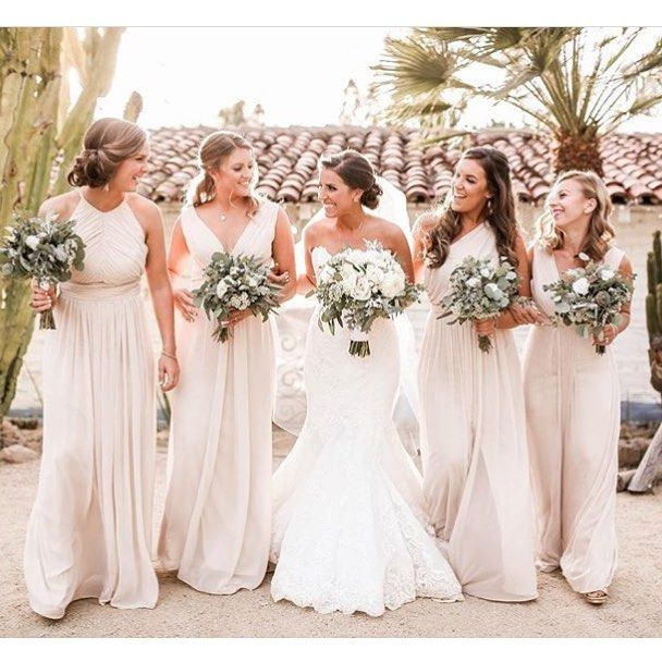 Blush Dessy Group Bridesmaids In Various Dresses Via Alysssaaalynnn By Jess Blush Bridesmaid Dresses Neutral Bridesmaid Dresses Wedding Bridesmaid Dresses