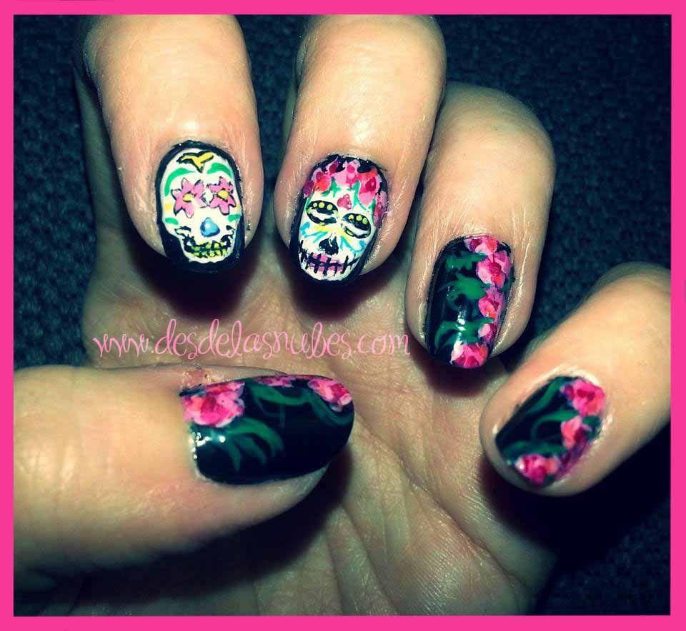 skull nails, mexican nails, frida kahlo nails uñas calaveras ...