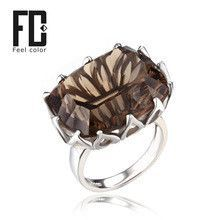 2014 New UNIQUE DESIGN CONCAVE! 20ct Genuine Smoky Quartz Ring 925 Solid Sterling Silver Size 6 7 8 9 Free Shipping