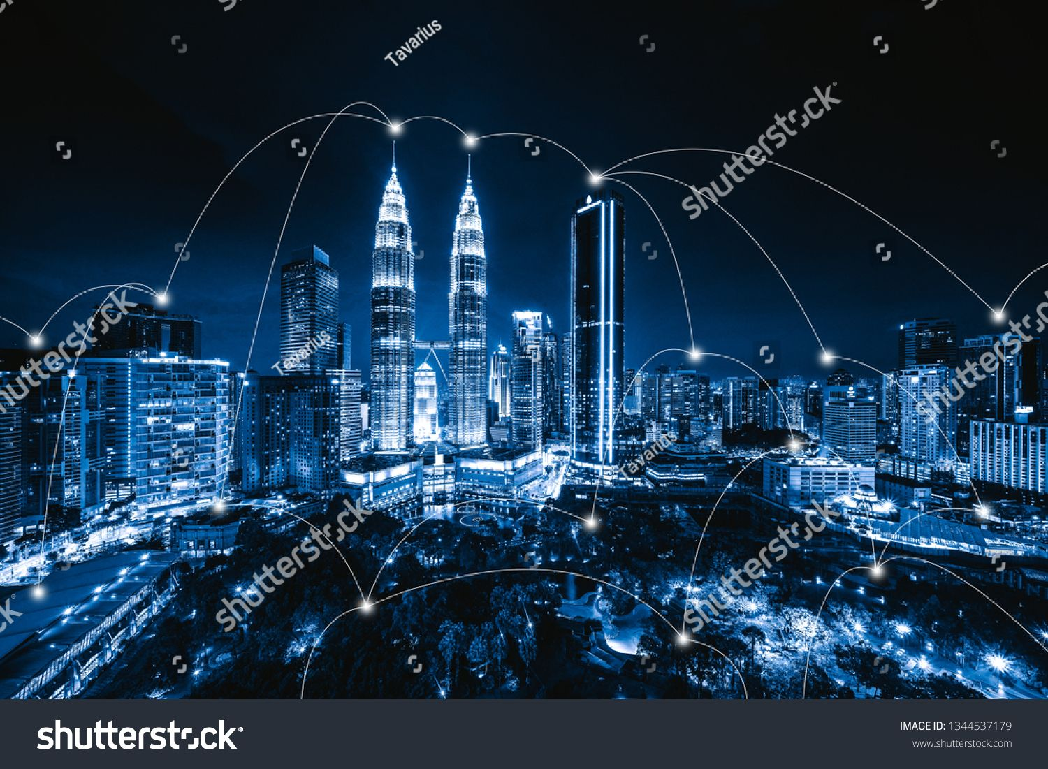 Digital network connection lines of Kuala Lumpur Downtown